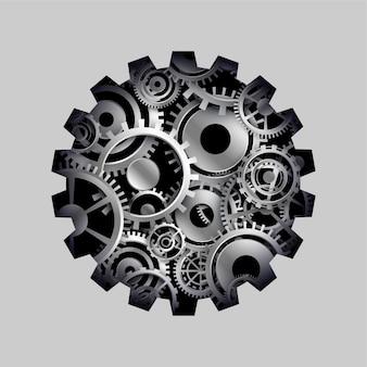 Fundo do conceito de roda dentada e engrenagens 3d