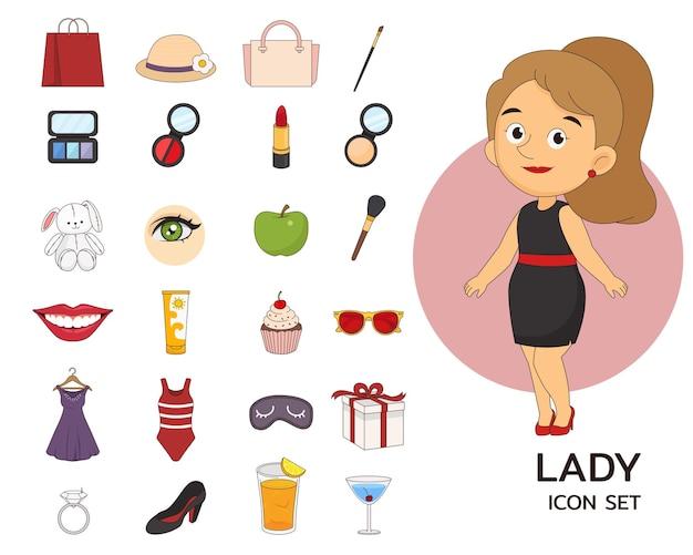 Fundo do conceito de senhora. ícones planos.