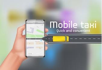 Fundo do conceito de táxi móvel. Mão humana, segurando, smartphone, com, mapa cidade