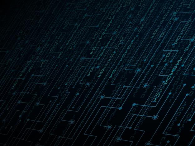 Fundo do conceito de tecnologia futura de circuito cibernético binário azul