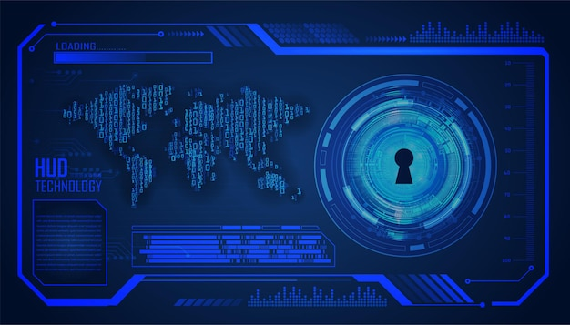 Fundo do conceito de tecnologia futura do circuito cibernético mundial hud
