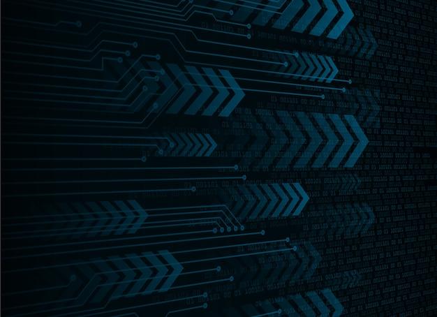 Fundo do conceito de tecnologia futura do circuito cibernético seta azul