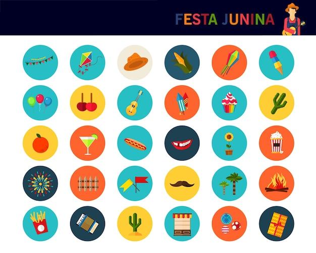Fundo do conceito do junina de festa. ícones planas