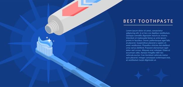 Fundo do conceito do tubo de dentífrico. ilustração isométrica de fundo de conceito de vetor de tubo de creme dental para web design