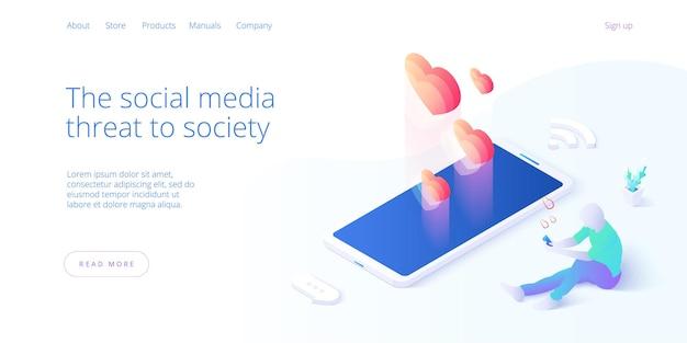 Fundo do conceito smm com macho e fêmea tocando como botão no smartphone