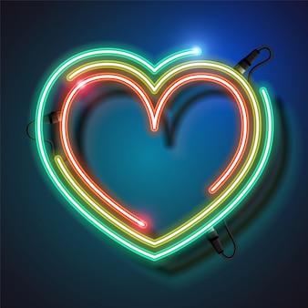 Fundo do coração de néon