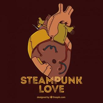 Fundo do coração de steampunk