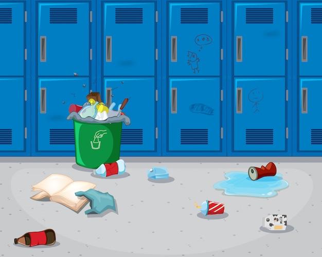 Fundo do corredor da escola suja