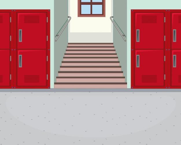 Fundo do corredor da escola vazia