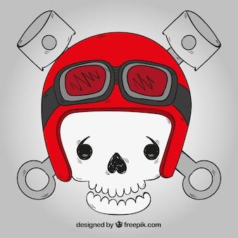 Fundo do crânio com capacete vermelho e vidros desenhados da mão