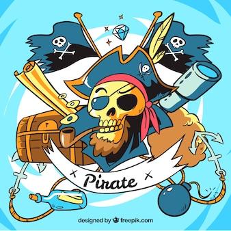 Fundo do crânio do pirata com elementos desenhados à mão
