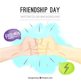 Fundo do cumprimento amigo aguarela