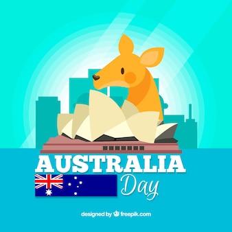 Fundo do dia da austrália com canguru e horizonte de sydney