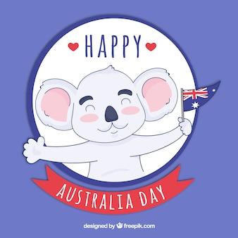 Fundo do dia da austrália com koala feliz