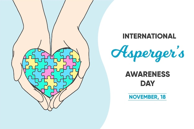Fundo do dia da conscientização do asperger internacional desenhado à mão