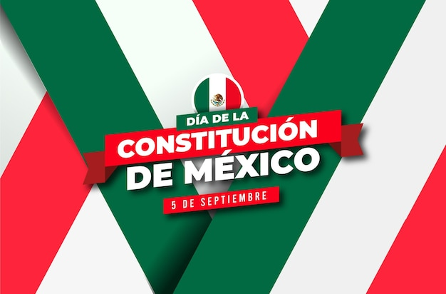 Fundo do dia da constituição com bandeira mexicana