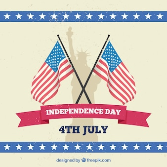 Fundo do dia da independência com bandeiras e estátua da liberdade