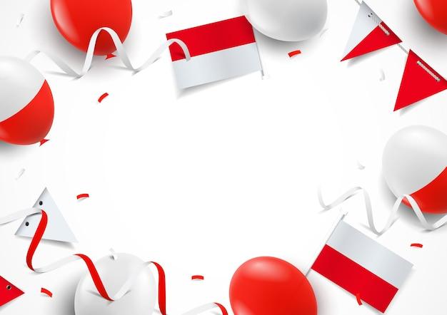 Fundo do dia da independência da polônia com bandeiras de balões