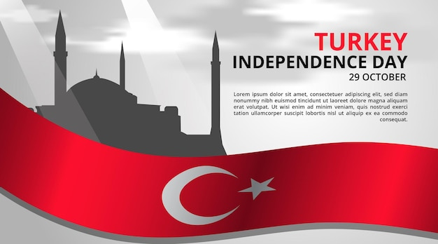 Fundo do dia da independência da turquia com bandeira e marco