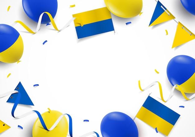 Fundo do dia da independência da ucrânia com bandeiras de balões