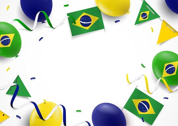 Fundo do dia da independência do brasil com bandeiras de balões