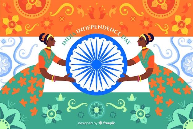 Fundo do dia da independência em estilo de arte indiana