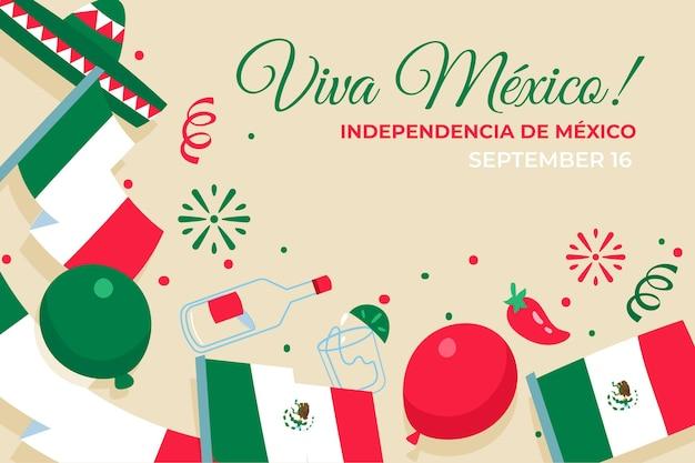 Fundo do dia da independência mexicana de design plano