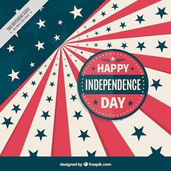Fundo do dia da independência retro com listras e estrelas