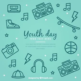 Fundo do dia da juventude com acessórios