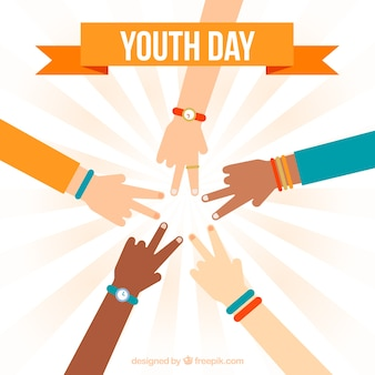 Fundo do dia da juventude com as mãos