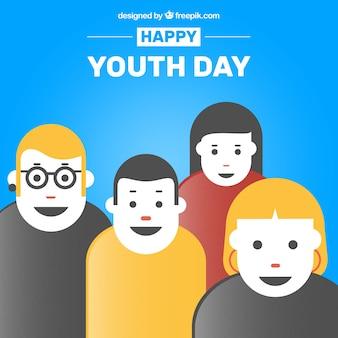 Fundo do dia da juventude com pessoas felizes