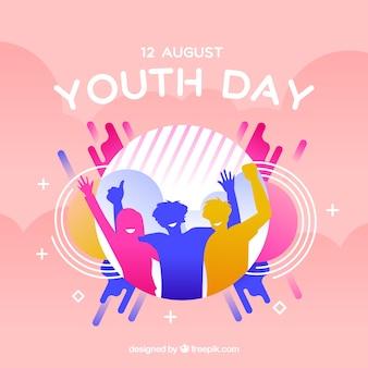 Fundo do dia da juventude com silhuetas coloridas