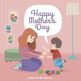 Fundo do dia da mãe da mulher que joga com seu filho