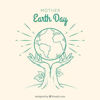 Fundo do dia da mãe terra mão desenhada