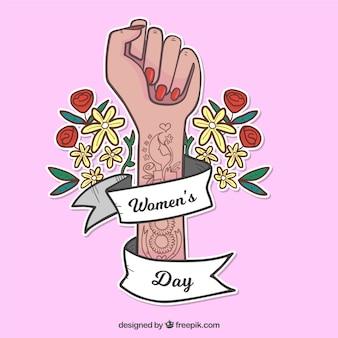 Fundo do dia da mulher com braço tatuado