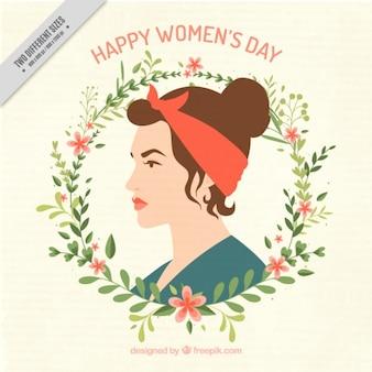 Fundo do dia da mulher com detalhe floral grinalda