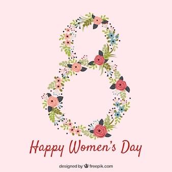 Fundo do dia da mulher com número floral