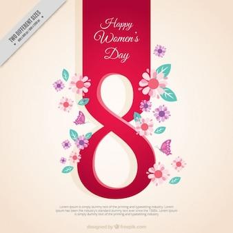 Fundo do dia da mulher com o número oito e detalhes florais