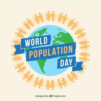 Fundo do dia da população mundial com pessoas