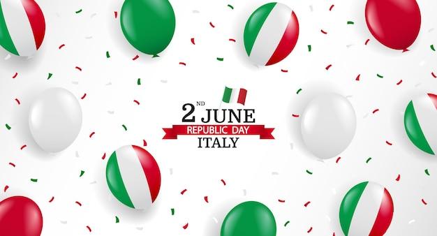 Fundo do dia da república da itália com balões