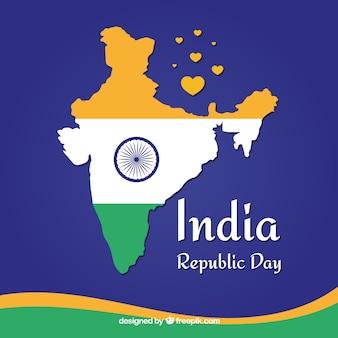 Fundo do dia da república indiana com o mapa