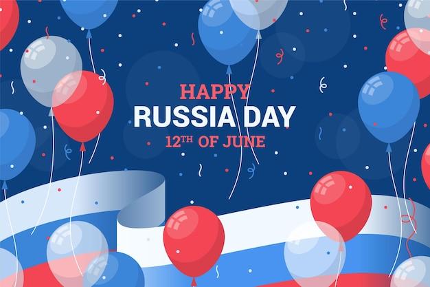Fundo do dia da rússia plana com balões