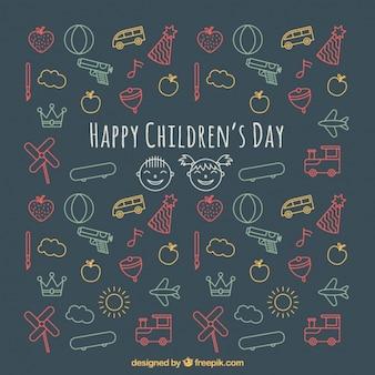 Fundo do dia das crianças de desenhos coloridos
