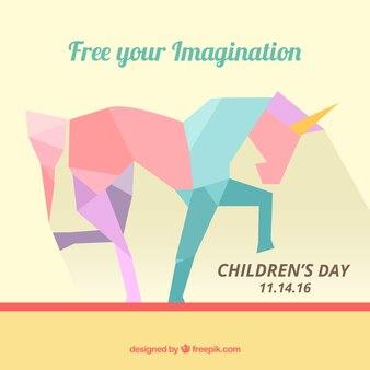 Fundo do dia das crianças do unicórnio poligonal