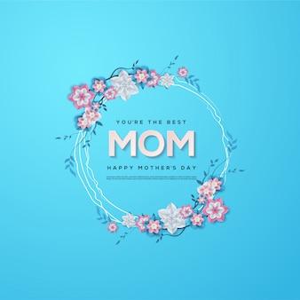 Fundo do dia das mães com ilustração azul circular da flor.