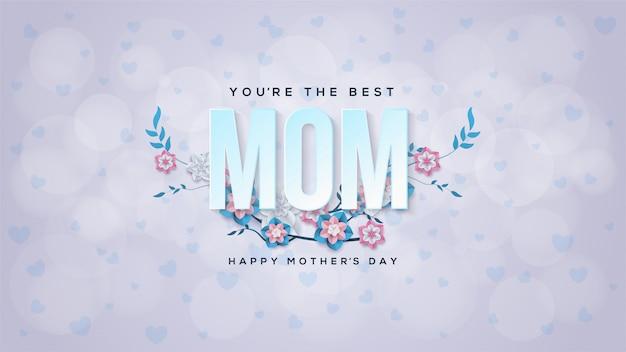Fundo do dia das mães com ilustração azul das flores.