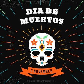 Fundo do dia das mortes com crânio em mexicana