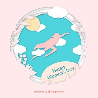 Fundo do dia das mulheres em estilo de papel