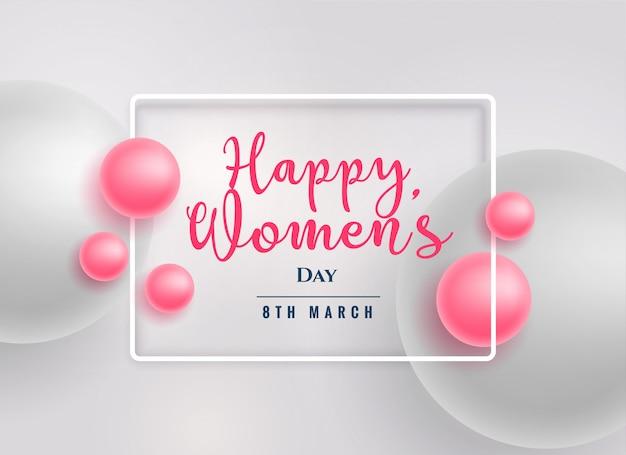 Fundo do dia das mulheres felizes lindas pérolas rosa