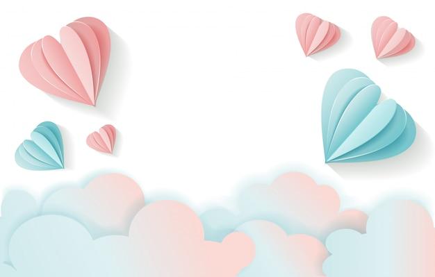 Fundo do dia de valentim com o volume que voa o coração e nuvens de papel cor-de-rosa e azuis.